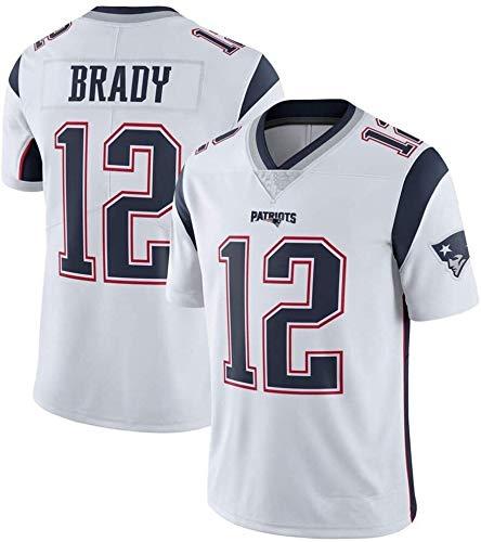Tom Brady Jersey, Patriots # 12 Camisa de fútbol Americano, Versión de Bordados, Hombres, Mujeres, Versión de Fan de Niños Camiseta 2021 Tribute Limited Jersey (Color : White, Size : S)
