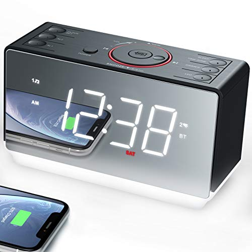 Emerson Radio White Jumbo Mirror Display Dual Alarm Clock Radio with USB Charging, Shuttle Wheel, LED Decor, Earphone Jack and Bluetooth Speaker, ER100116