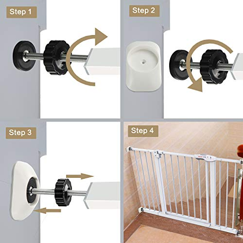 Vmaisi Baby Gate Wall Cup Protector Make Pressure Mounted Safety Gates More Stable - Wall Damage-Free - Fit for Doorway, Door Frame, Baseboard - Work on Dog & Pet Gates (White)