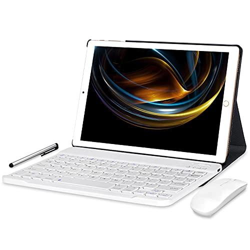 Tablet 10 Pulgadas Android 10.0 - YUMKEM Tableta 4GB RAM 64GB ROM con 8 núcleos 1.6 GHz | WiFi | Bluetooth | GPS | MicroSD 4-128 GB, con Estuche para Teclado/Mouse/Funda de Tablet - Gold