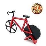 Bicicletta Rotella Taglia Pizza,Rotelle Tagliapizza,Acciaio inox a Rotella Taglia pizza, Tagliapizza Bicicletta, Rotelle da Taglio in Acciaio Inox con Supporto, Utensili da Cucina(Rosso