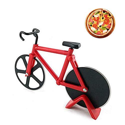 Fahrrad Pizzaschneider, Edelstahl-Pizzaschneider, Edelstahl-Fahrrad-Radschneider, Kuchenschneider, Antihaftbeschichteter Edelstahl Pizzaroller mit Ständer, 100% Essen Grade Pizza Schneider, Rot