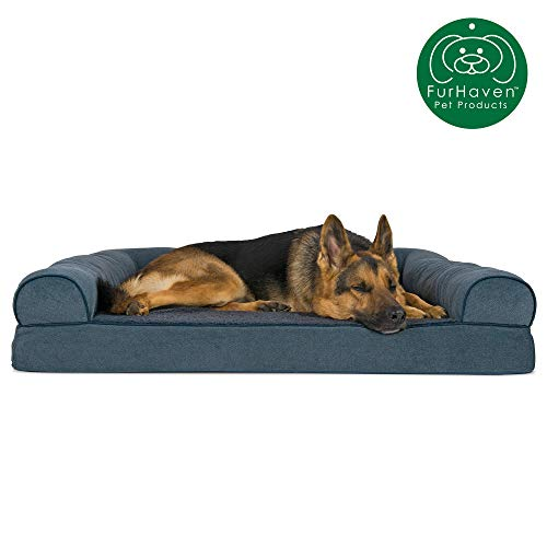 Furhaven Pet Dog Bed | Orthopedic Faux Fleece & Chenille Soft Woven Traditional Sofa-Style Living Room Couch Pet Bed w/ Removable Cover for Dogs & Cats, Orion Blue, Jumbo