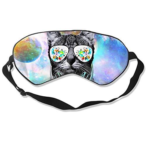 Slaap Masker voor Vrouwen & Mannen, Dj Kat met Oortelefoon Huisdier Dier, Oogmasker voor Slapen, Ultra Zacht Ademend Slapend Oog Masker, Blackout Oogschaduw Blindfold voor Volledige Duisternis