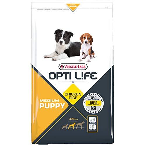 Global Pienso para Perros OPTI Life Puppy Medium con Pollo y arroz   Pienso para Cachorros de Raza Mediana Versele Laga   Comida para Perros 12,5 kgs