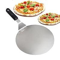 pala per pizza per pizza, torte, forno e griglia, in acciaio inossidabile sottile e resistente, impugnatura antiscivolo