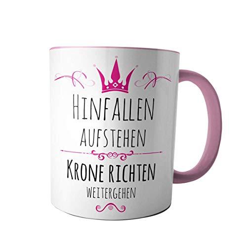 Creativgravur Tasse Kaffeebecher Kaffeetasse - Prinzessin hinfallen, aufstehen, Krone richten, weitergehen - Druck oder Gravur, Motiv:Motiv 01