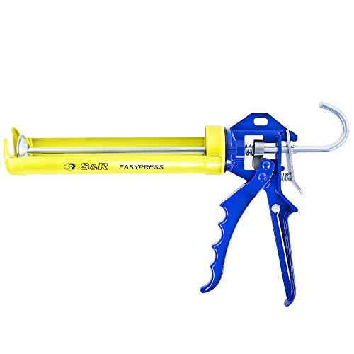 S&R Pistola cartuchos silicona hasta 310 ml. Pistola Selladora con marco giratorio de acero. Relación de empuje 12:1