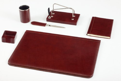 Maruse Set da Scrivania in Pelle Marrone 6 pezzi Accessori da Ufficio - Made in Italy
