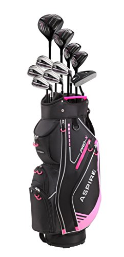 Aspire PRO-X Ladies Womens Complete Right Handed Golf Clubs Set Includes Titanium F Driver, 3 Fairway Wood, 4-5 Hybrids, 7-SW Irons, Putter, Cart Bag, 4 H/C's (Petite Size -1
