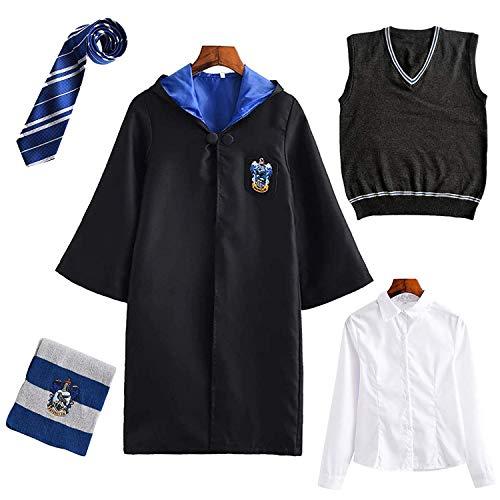 Harry Potter Kostüm Kinder Erwachsene Umhang Unisex Gryffindor Hufflepuff Ravenclaw Slytherin Cosplay Outfit Set Cape,Krawatte,Hemd,Weste,Schal Fasching,Weiblich-blau,S