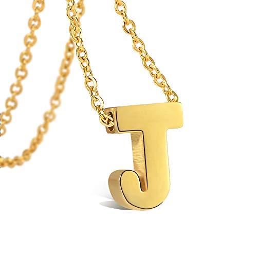 VU100 Halskette Initiale J Alphabet Anhänger für Damen Mädchen Vergoldet Edelstahl Brief Halskette mit Buchstaben in Gold Kette 45+5CM
