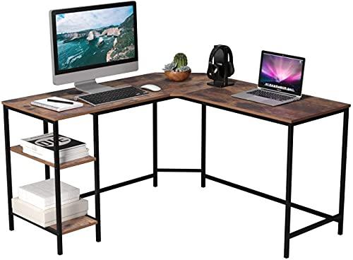 L-förmiger Schreibtisch Computertisch Ecktisch PC Tisch Bürotisch mit 2 Ablagen Ergonomie für Gaming Büro Groß Vintage 135x135x75.5cm