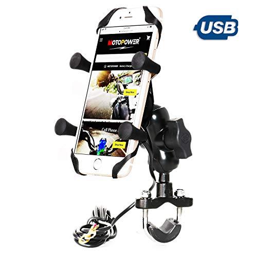 MOTOPOWER MP0622 Soporte de manillar para teléfono celular de motocicleta con cargador USB Cuerpo de metal resistente