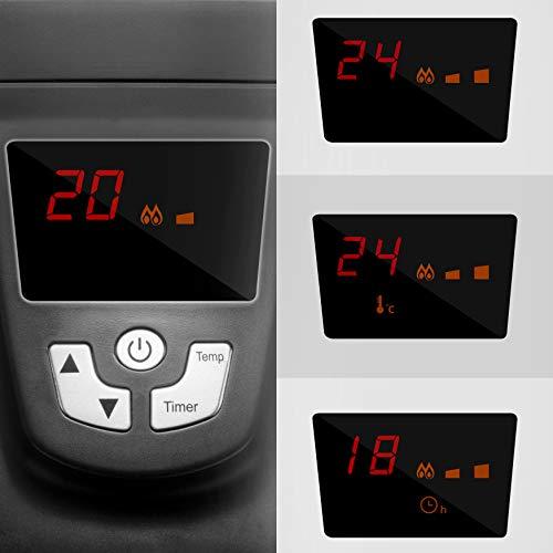Duronic HV052 Chauffage électrique en mica de 1500W | Deux puissances | Thermostat réglable sur Un écran | Minuterie intégrée | Télécommande à Distance | Triple Protection | Chauffe en Une Minute