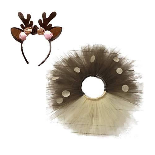 Nios Nias Animales Salvajes Ciervos Vestir Vestidos De Tul Tut De Navidad Disfraz de Princesa Fawn Cosplay para la Fiesta de cumpleaos de Halloween,S