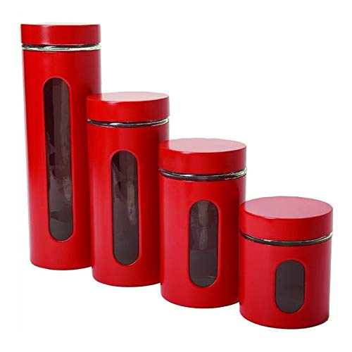 PG Products -Palladian Glass and Stainless Steel 4 Piece Kitchen Canister Set with Lid
