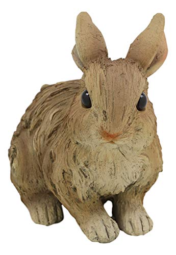 Ebros Realistic Faux Driftwood Finish Design Crouching Bunny Rabbit Resin Statue 5.5