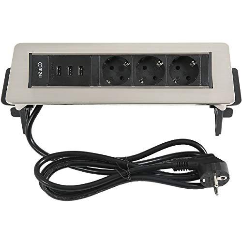 enchufe múltiple newpo | 3x enchufes | 3 puertos USB | Regleta de enchufes, cargador, regleta de enchufes, enchufe múltiple, adaptador de enchufe, conexión de alimentación