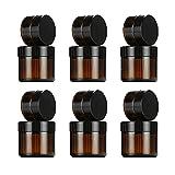 12 botes vacíos de cristal ámbar de Saijer, recipiente de cristal con tapa, 10 ml, 30 ml, para cremas, lociones, aceites esenciales en polvo