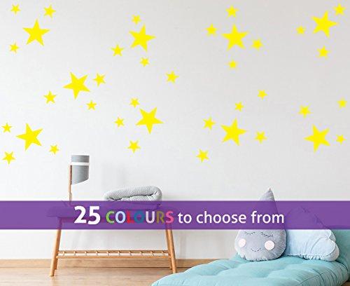 Pak van 40 MIXED grootte STARS, 1,5, 2 en 4 inch ster SHAPES muur kunst sticker decal, confetti sterren, voor baby jongens, meisjes kinderkamer, schoonheidssalon, YELLOW