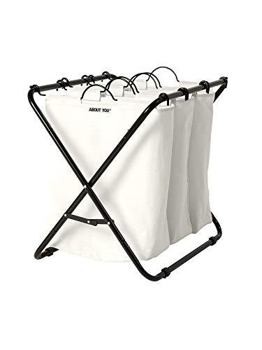 ABOUT YOU Panier à linge « Homie » avec trois sacs à linge amovibles, panier à linge spacieux pour trier et séparer le linge, panier en métal avec compartiments (blanc cassé)