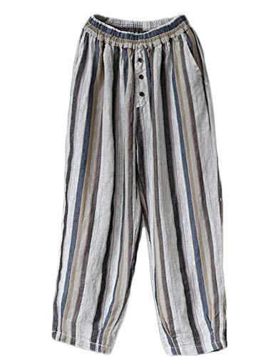 Mallimoda Donna Pantaloni A Righe Cropped Pantaloni Pantalone in Lino Blu Scuro M