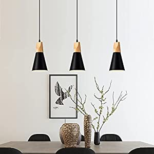 Modern Metal Pendant Lighting Industrial Hanging Mini Light Fixture Wood Pendant Lamp for Kitchen Island, Dining Room, Barn, Bar, Hallway Black 1 Pack