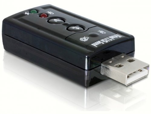 USB Sound Adapter 7.1 - DeLock -Virtual 7.1 Sound - Xear 3D Sound - mit Funktionstasten - zusätlicher Soundadapter - ideal für Skype