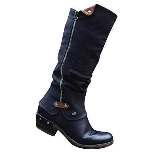Giytoo Cowboy Knielaarzen voor dames, punk, laarzen, lage dik, Heel Side Zipper Booties