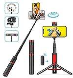 BAOLIDA Perche Selfie Bluetooth, 3 en 1TrépiedSmartphone Mini Selfie Stick Extensible avec Télécommande, Perche Selfie Trépied pour iPhone, Samsung, Huawei, Xiaomi,GoproCaméra etc