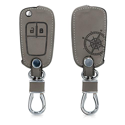 kwmobile Autoschlüssel Hülle kompatibel mit Opel Chevrolet 2-Tasten Klapp Autoschlüssel - Kunstleder Schutzhülle Schlüsselhülle Cover Kompass Vintage Grau