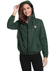 Abollria Damesregenjas, lichte korte jas met ademende voering, herfst, waterdichte overgangsjassen met capuchon.