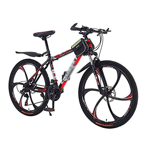 26 En Bicicletas de montaña Bicicleta de 21/24/27 velocidades Bicicleta de montaña para Adultos Marco de Acero de Alto Carbono Suspensión Doble Freno de Disco Doble para un Camino, Sendero y montañas