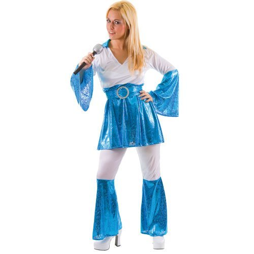 Women's Mamma Mia Costume, Blue and White, with flared top, trousers and belt. Sizes 10-16.