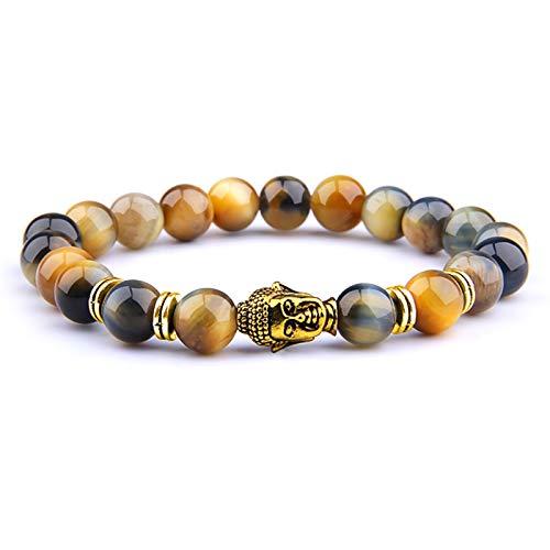 OYZK Buddha Kopf Armbänder Männer Vintage Elastische Gebet Schmuck Natürliche Chakra Tiger Eye Stein Perlen Armreif Gold Charme (Length : 21cm, Metal Color : Dream Tiger 1)