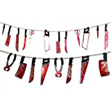 OUNONA 12pcs Halloween Blooding Knife Party Haunted House Hanging Garland Pennant Halloween Banner Decoration