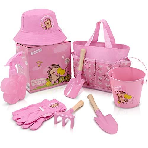 Jardineer Kids Gardening Set Metal Pink– Gardening Tools for Kids Gardening Gloves and Tote Bag