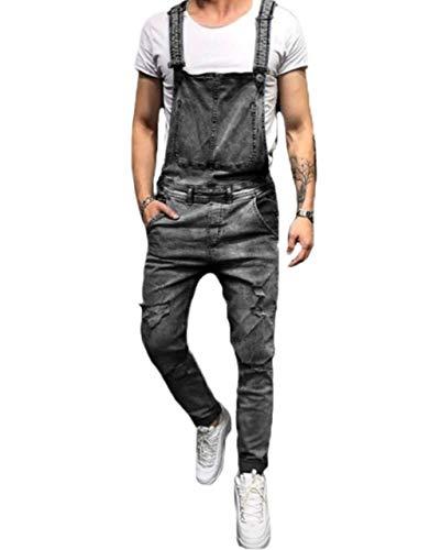 Men's Ripped Slim Fit Jeans Denim Pants with Broken Holes (W32, White-Broken Hole)