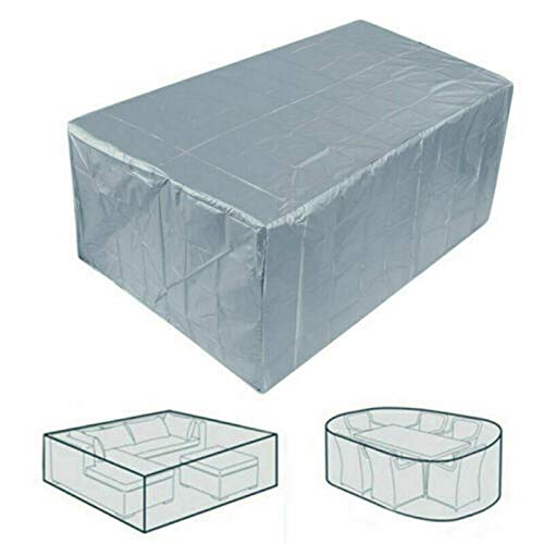 Silver Garden Furniture Covers 210D Heavy Duty Oxford Fabric Windproof Waterproof Anti-AV, Cube Outdoor Patio Table Cover
