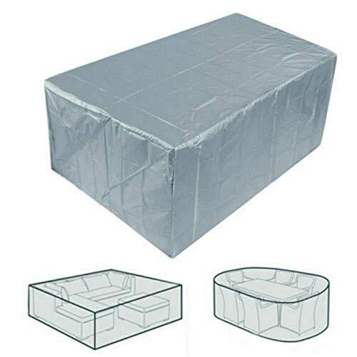 Conjuntos de Muebles jardín Exterior 210D Oxford, Funda para Mesa Plazas, Cubierta Impermeable para Sofa al Aire Libre Patio,Plata