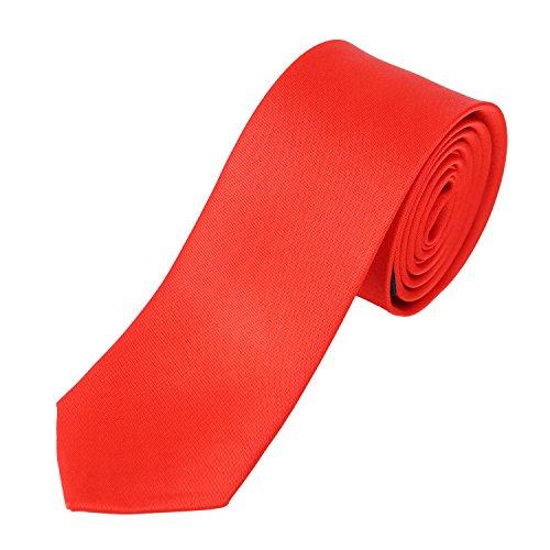 DonDon Hombres corbata delgado brillante 5 cm rojo
