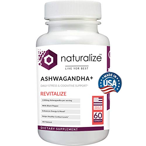 Naturalize Ashwagandha 1300mg Organic Ashwagandha Root Powder Extract of Black Pepper Anxiety Relief, Thyroid Support, Cortisol & Adrenal Support, Anti-Anxiety Supplements 60 Veggie Capsules