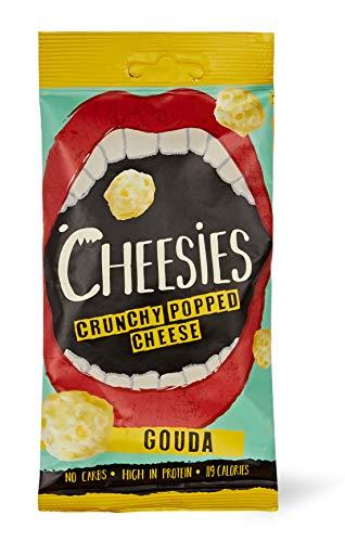 Cheesies Knuspriger gepoppter Käse-Snack, Gouda. Ohne Kohlenhydrate, mit hohem Proteingehalt, glutenfrei, vegetarisch, Keto. Gouda 12 x 20g Packungen