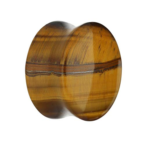 Treuheld® | 8mm Tigerauge Ohr Plug/Flesh Tunnel | Goldbraun | Schmuckstein-Kristall | Quarz-Mineral | Damen und Herren | Stein Tunnel Piercing