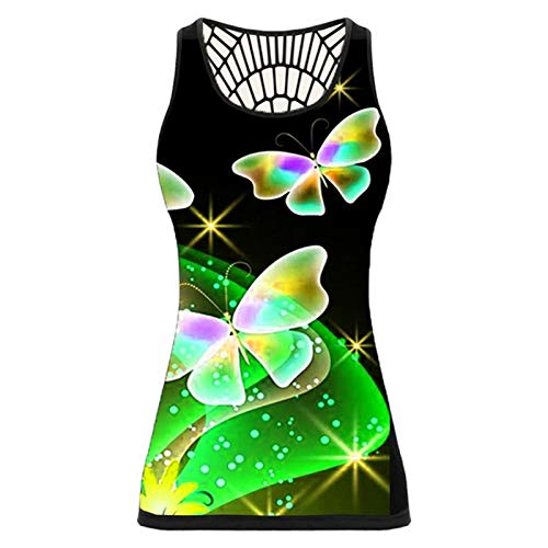 Dicomi Women Plus Size Vest Top Butterfly Print Sleeveless Shirt Summer Back Hollow Out Loose Shirt Tops Green
