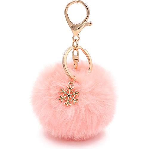 Faux Fur Pom Pom Keychain (Peach)
