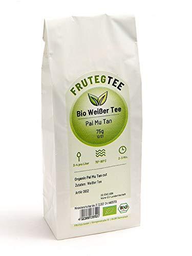 FRUTEG Bio Pai Mu Tan Tee 75 g cut I Bio weisser Tee lose geschnittene Blätter aus kontrolliert biologischem Anbau I belebend-frische Teemischung I Weisser Tee Pai Mu Tan 75g