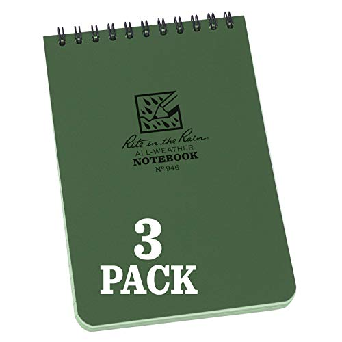 "Rite In The Rain Weatherproof Top Spiral Notebook, 4"" x 6"", Green Cover, Universal Pattern, 3 Pack (No. 946-3)"