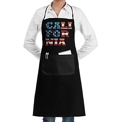 July flower USA Flag California Aprons Kitchen Chef Bib Aprons Gift Apron Professional for Grill,BBQ,Baking,Cooking for Men Women,with Front Pockets,Black